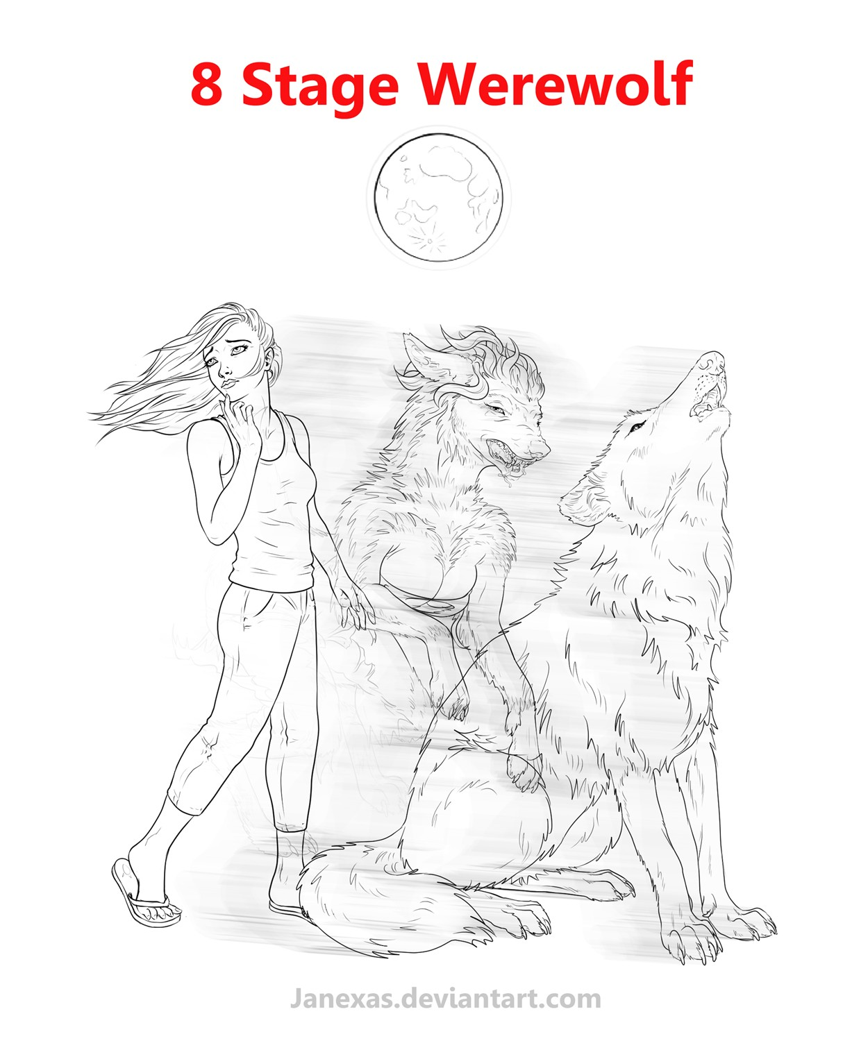 8 Stage Werewolf Commission by Janexas
