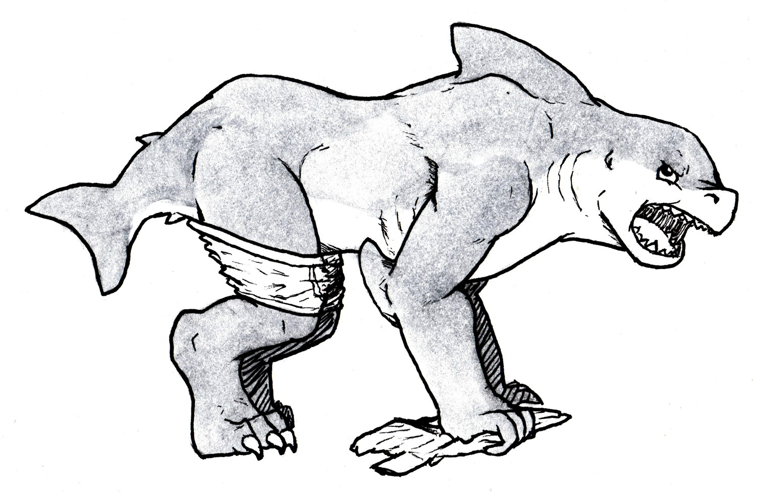 Quadrupedal wereshark dude by THE COAST IS NEAR