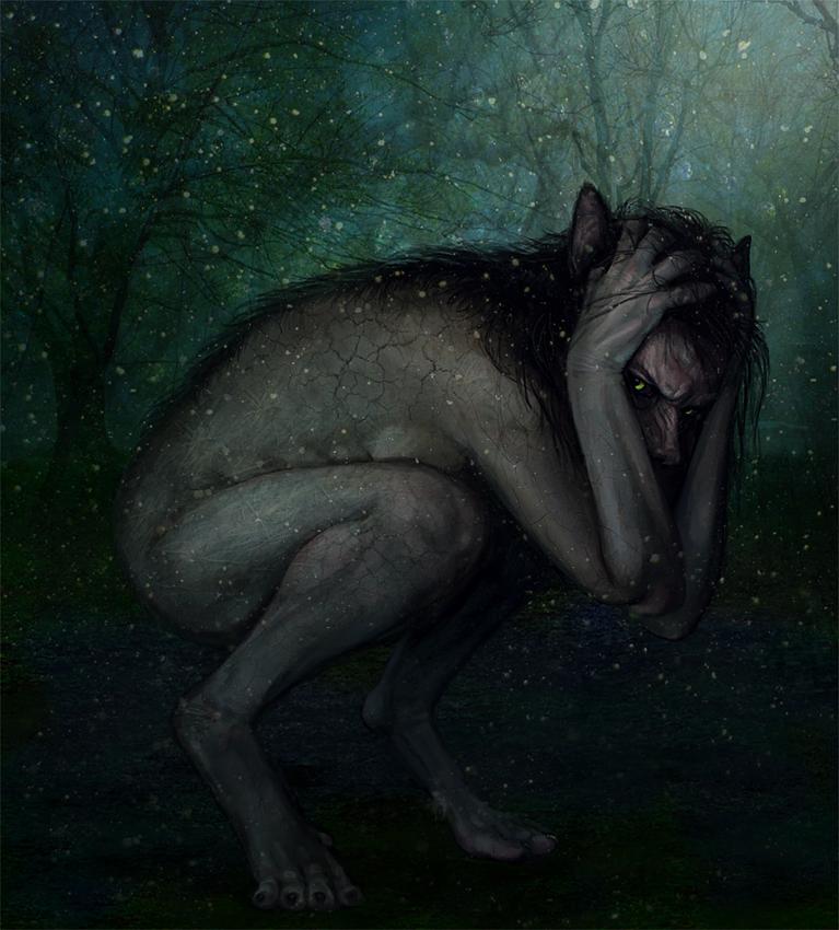 волка, картинки мрачнвх полу зверей полу животных зеленым луком